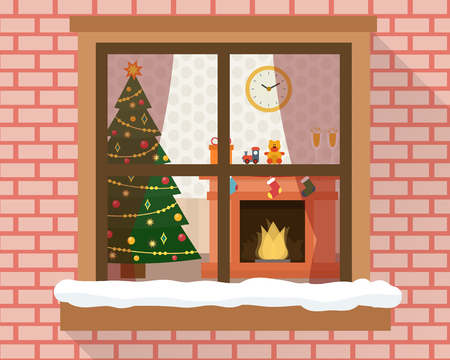 living room window: Christmas room with furniture, christmas tree and fireplace through the window with lights and decoration. Flat style vector illustration.