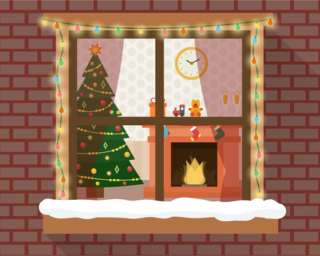 windows: Christmas room with furniture, christmas tree and fireplace through the window with lights and decoration. Flat style vector illustration.