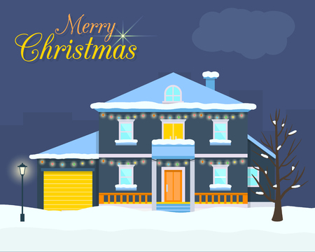 lights: Big house with christmas light and decoration. Villa with evening or night landscape. Flat style vector illustration.