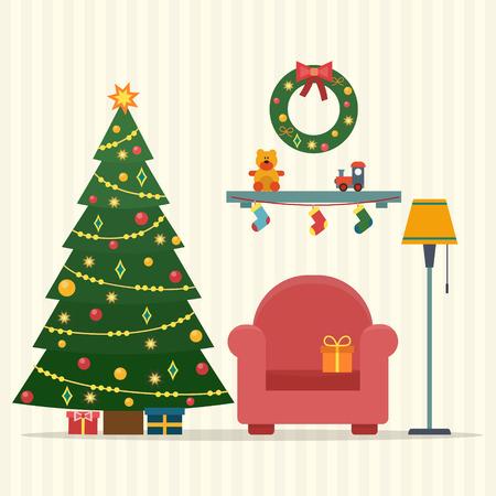 Weihnachten Innenraum. Weihnachtsbaum, Geschenk und Dekoration. Wohnung Stil Vektor-Illustration.