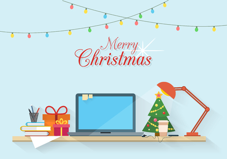 Christmas workplace. Table with computer, gifts, lamp, christmas tree, books and paper. Office and homework, freelancers workspace. Flat style vector illustration.