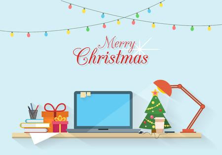 Kerstmis werkplek. Tafel met een computer, geschenken, lamp, kerstboom, boeken en papier. Office en huiswerk, freelancers werkruimte. Vlakke stijl vector illustratie.