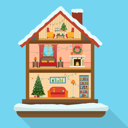 fireplace christmas: Christmas house in cut with snow. House interior with a furniture, fireplace, christmas tree, gifts, lights, decorations. Flat style vector illustration.