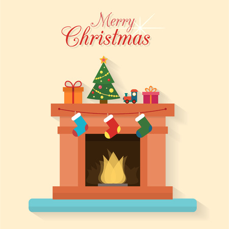 warm house: Christmas fireplace with socks, decorations and christmas tree. Flat style vector illustration.