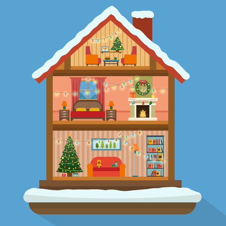 HOUSES: Christmas house in cut with snow. House interior with a furniture, fireplace, christmas tree, gifts, lights, decorations. Flat style vector illustration.