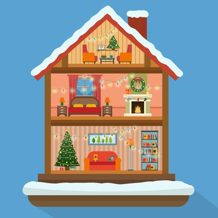 Het huis van Kerstmis in gesneden met sneeuw. Huis interieur met een meubels, open haard, kerstboom, cadeaus, verlichting, decoraties. Vlakke stijl vector illustratie.
