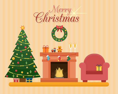 Christmas room interior. Christmas tree, fireplace, gift and decoration. Flat style vector illustration. Ilustração