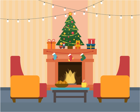 Christmas room interior. Christmas tree, fireplace, gift and decoration. Flat style vector illustration. Çizim