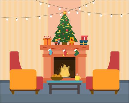 Kerst kamer interieur. Kerstboom, open haard, cadeau-en decoratie. Vlakke stijl vector illustratie.