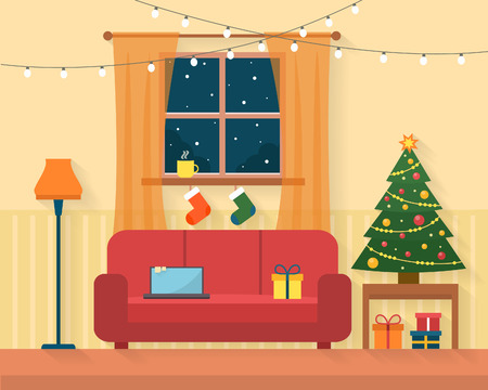 heat home: Christmas room interior. Christmas tree, gift and decoration. Flat style vector illustration. Illustration