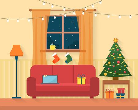 Sitio de la Navidad de interiores. Árbol de Navidad, regalo y decoración. Ilustración vectorial de estilo Flat.