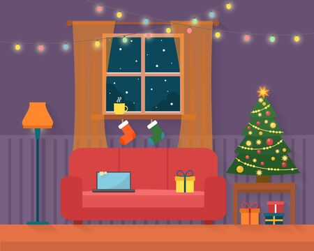 decoration style: Christmas room interior. Christmas tree, gift and decoration. Flat style vector illustration. Illustration