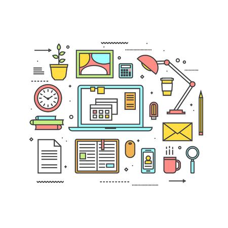 icono ordenador: Mesa de trabajo con el ordenador, lámpara, café, libros y otros objetos. Interior del sitio de trabajo. estilo de ilustración vectorial de la forma.
