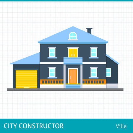 bight: Big house with evening or night landscape. Villa.  Flat style vector illustration.