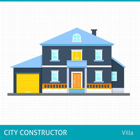 villa: Big house with evening or night landscape. Villa.  Flat style vector illustration.