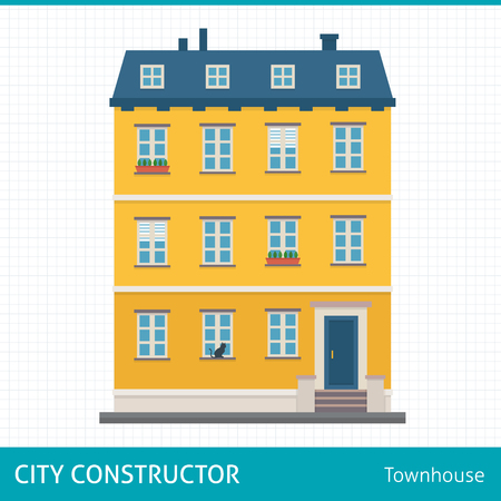 townhouse: Townhouse. Buildings for city construction. Set of elements to create urban background, village and town landscape.  Flat style vector illustration.