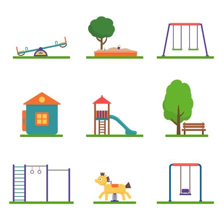 Jeux pour enfants fixés. Icônes avec des balançoires et des objets enfants. Plat illustration vectorielle de style.