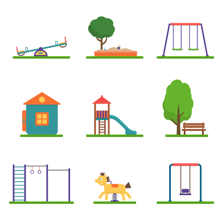 vector set: Kids playground set. Icons with kids swings and objects. Flat style vector illustration. Illustration