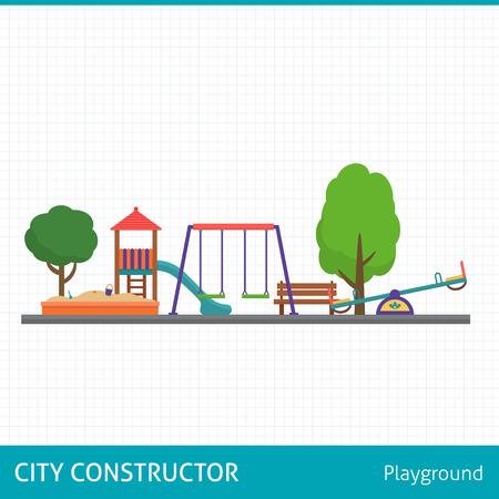 Parque infantil establecen. Iconos con columpios y objetos los niños. Ilustración vectorial de estilo Flat. Foto de archivo - 48085492