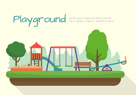 niños en area de juegos: Parque infantil establecen. Iconos con columpios y objetos los niños. Ilustración vectorial de estilo Flat.