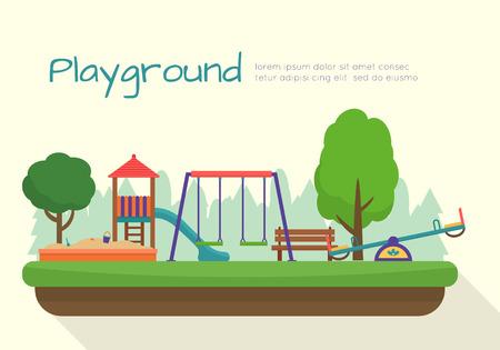 Place zabaw dla dzieci zestaw. Ikony z dzieci huśtawki i obiektów. Mieszkanie w stylu ilustracji wektorowych.