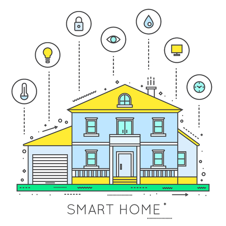 smart: Smart house. Home technology. Gadgets for smart life. Flat style vector illustration.