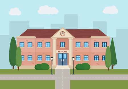 escuelas: Educación escolar. Edificios en construcción de la ciudad. Conjunto de elementos para crear el fondo urbano, pueblo y paisaje de la ciudad. Ilustración vectorial de estilo Flat. Vectores