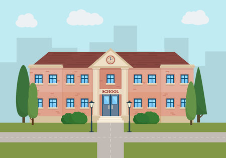 school icon: School and education. Buildings for city construction. Set of elements to create urban background, village and town landscape.  Flat style vector illustration.