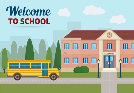 college students on campus: School building and school yellow bus with city landscape. Back to school. Flat style vector illustration.