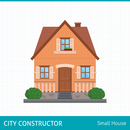 small country town: Small house with evening or night landscape. Villa.  Flat style vector illustration.
