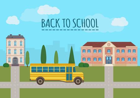 graduacion caricatura: Edificio de la escuela y la escuela autob�s amarillo con paisaje de la ciudad. Volver a la escuela. Ilustraci�n vectorial de estilo Flat. Vectores