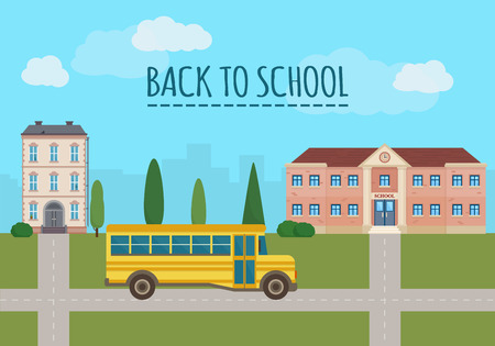 cartoon banner: School building and school yellow bus with city landscape. Back to school. Flat style vector illustration.