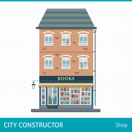 Book store. House with shop on first floor. Buildings for city construction. Set of elements to create urban background, village and town landscape. Flat style vector illustration.