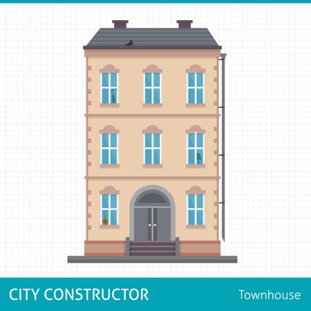 estilo urbano: Adosado. Edificios para la construcci�n de la ciudad. Conjunto de elementos para crear el fondo urbano, pueblo y paisaje de la ciudad. ilustraci�n vectorial de estilo plano. Vectores