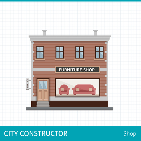 furniture shop: Furniture shop. Shop with sofa in showcase. Buildings for city construction. Set of elements to create urban background, village and town landscape.  Flat style vector illustration. Illustration