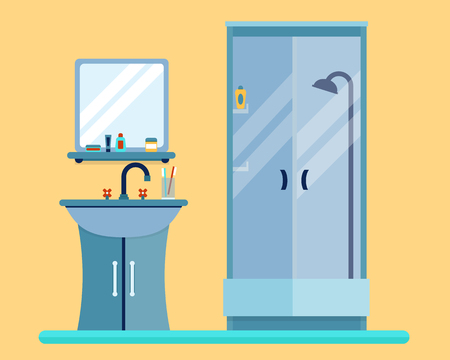 shadows: Bathroom with furniture and long shadows. Flat style vector illustration.