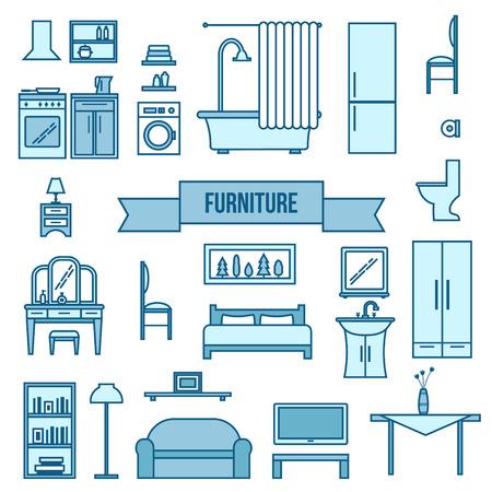 hall monitors: Furniture icons set. Flat style vector illustration.