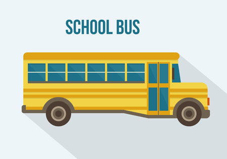 school illustration: Yellow school bus. Flat style vector illustration.