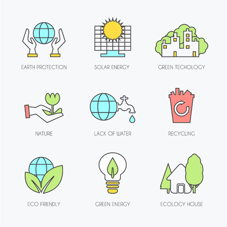environment protection: Ecology icons set. Environment protection. Linear style vector illustration. Illustration