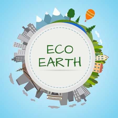 eco green: Ecology planet. Earth divided into two parts, an eco-friendly city and the forest and polluted city and factories. Flat style vector illustration.