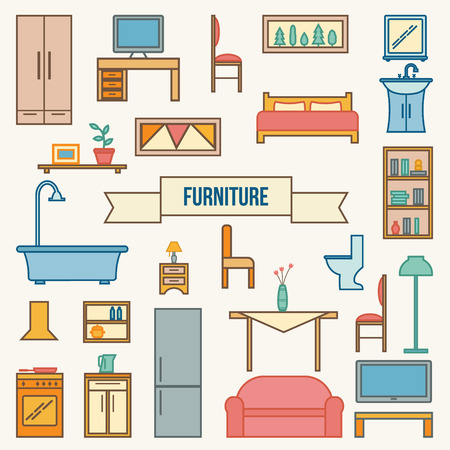 outdoor dining: Furniture icons set. Flat style vector illustration.