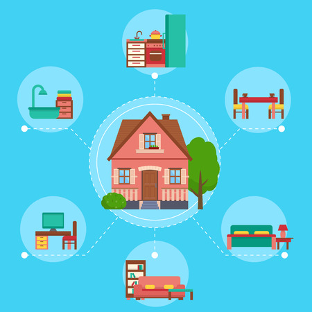 House interioir with rooms and furniture.  Flat style vector illustration.