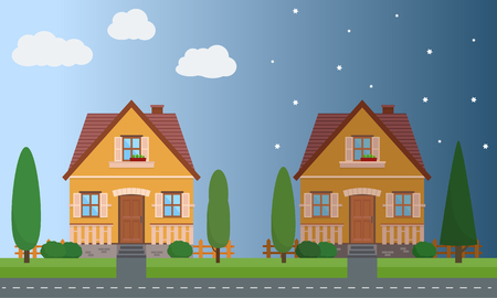 Day and night houses with trees. Flat style vector illustration.