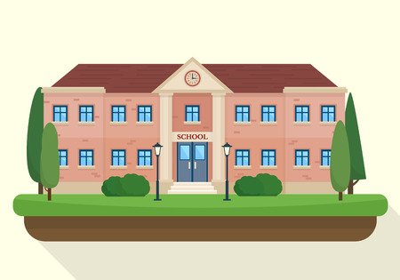 high: School and education. Buildings for city construction. Set of elements to create urban background, village and town landscape.  Flat style vector illustration.