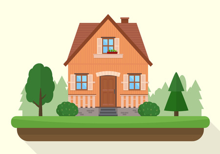 villa: Small house with evening or night landscape. Villa.  Flat style vector illustration.