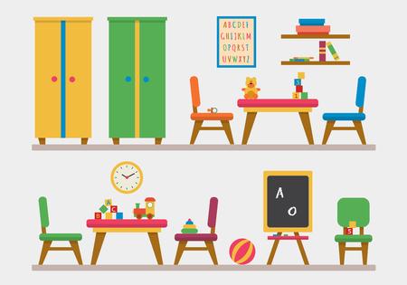 maestra preescolar: Kindergarten parque infantil preescolar. Mesa para niños con juguetes, armario, cubos y pizarra. Ilustración vectorial de estilo Flat. Vectores