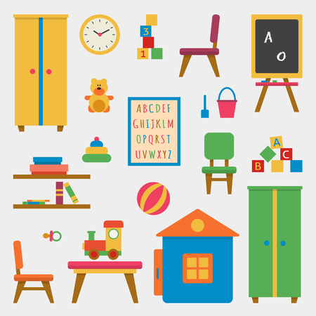 teacher classroom: Kindergarten preschool playground. Childrens table with toys, wardrobe, cubes and chalk board. Flat style vector illustration. Illustration