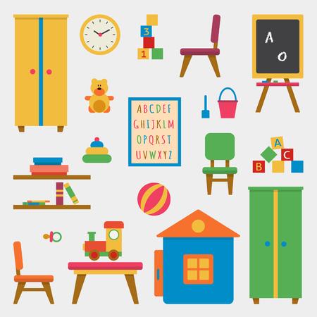 Kindergarten Vorschulspielplatz. Kindertisch mit Spielsachen, Kleiderschrank, Würfel und Kreidetafel. Wohnung Stil Vektor-Illustration. Illustration