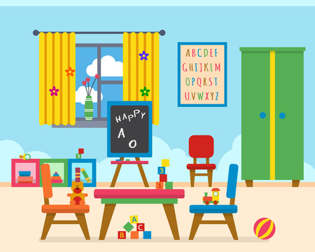 kindergarten education: Kindergarten preschool playground. Childrens table with toys, wardrobe, cubes and chalk board. Flat style vector illustration. Illustration