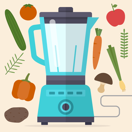 Food processor. Mixer and vegetables. Flat style vector illustration.